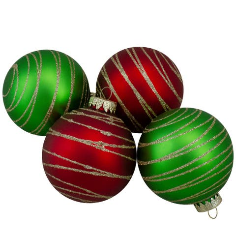 4ct Glass Red and Green Matte Christmas Ball Ornaments 3.25-Inch (80mm)