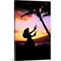 Premium Thick-Wrap Canvas entitled Hawaiian Islands hula dancer - Multi-color