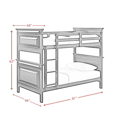 Picket House Furnishings Trent Twin over Twin Bunk Bed in Antique Black
