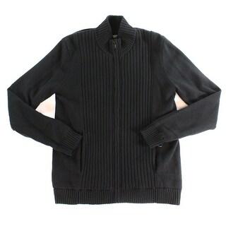 Alfani NEW Black Mens Size Medium M Full Zip Ribbed Mock-Neck Sweater