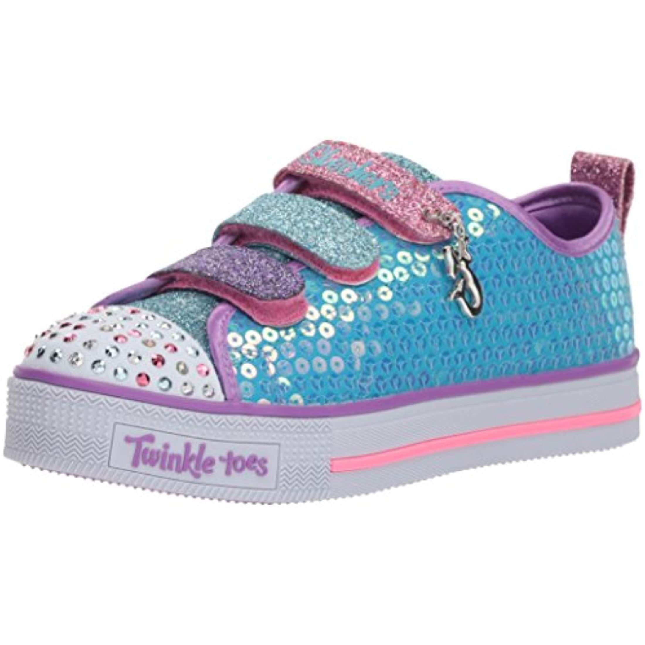 Skechers Kids Girls Twinkle Lite Mermaid Magic Sneaker, TurquoiseMulti, Little