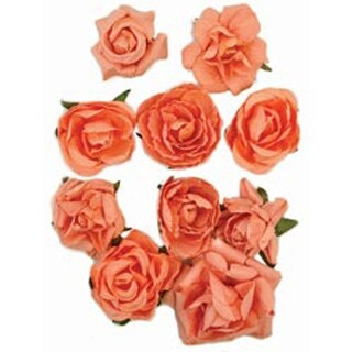 """Coral - Paper Blooms 1"""" To 1.5"""" 10/Pkg"""