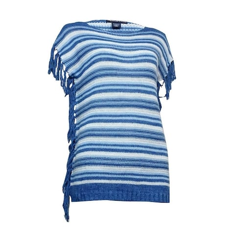American Living Women's Fringed Striped Bateau Sweater - Blue Multi