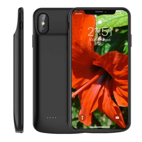 iPhone XS Max PowerCase (Charge & Sync) by Indigi - 6000mAh - Black - 360 Protection