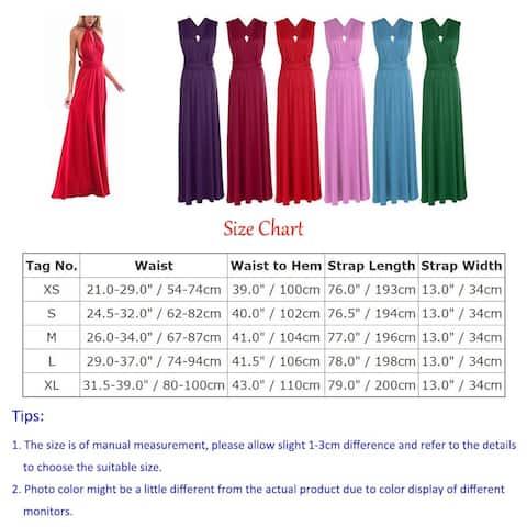 Women Evening Long Dress Convertible Multi Way Wrap Wedding, Black, Size X-Large