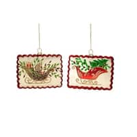 Club Pack of 12 Decorative and Festive Christmas Sleigh Glass Ornament 4.5""