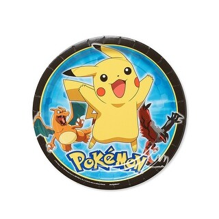 """Pokemon Pikachu and Friends 9"""" Round Paper Plates, 8 Count - Multi"""