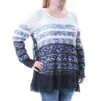 Womens White 3/4 Sleeve Jewel Neck Casual Sweater  Size  XL