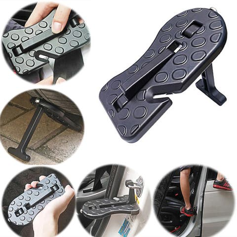 5 in 1 Folding Car Door Latch Hook Step Foot Pedal Ladder for Jeep SUV Truck - Silver - M