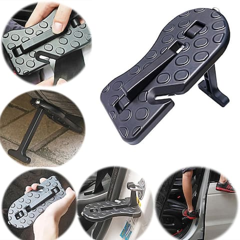 Folding Car Door Latch Hook Step Mini Foot Pedal Ladder for Jeep SUV Truck Roof - Silver - M