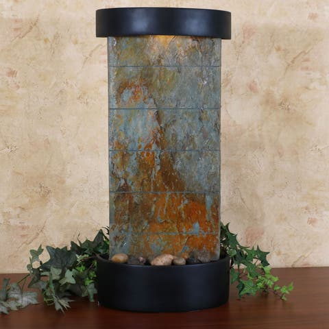 Sunnydaze Indoor Tabletop or Wall Water Fountain - Natural Slate - 25-Inch