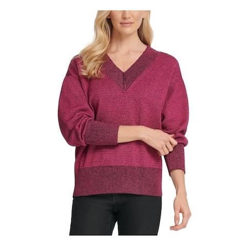 DKNY Womens Purple Glitter Long Sleeve V Neck T-Shirt Sweater Size M