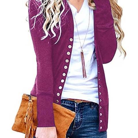 Female Spring V-Neck Long-Sleeved Button Cardigan Shirt