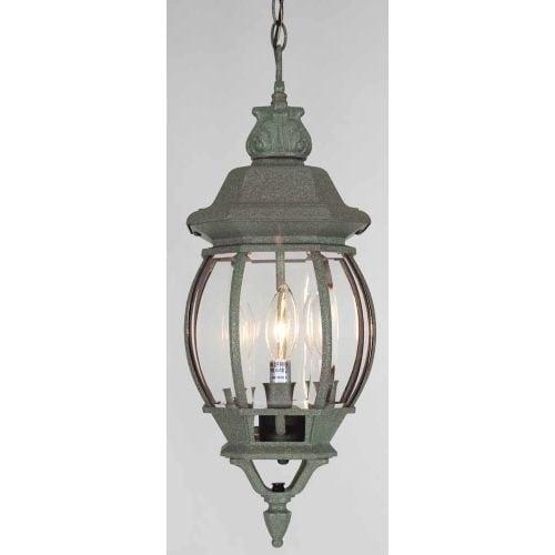 """Volume Lighting V8762 3 Light Outdoor 22"""" Height Pendant with Clear Beveled Glas - mottled verde green"""