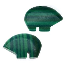 Synthetic Malachite Gemstone Beads, Bears 12x15mm, 6 Pieces, Green