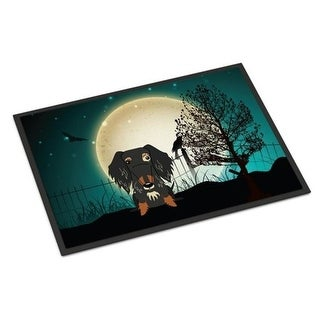 Carolines Treasures BB2318MAT Halloween Scary Wire Haired Dachshund Dapple Indoor or Outdoor Mat 18 x 0.25 x 27 in.