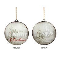 Club Pack of 24 White and Red Let It Snow Decorative Christmas Disc Ornament 6""