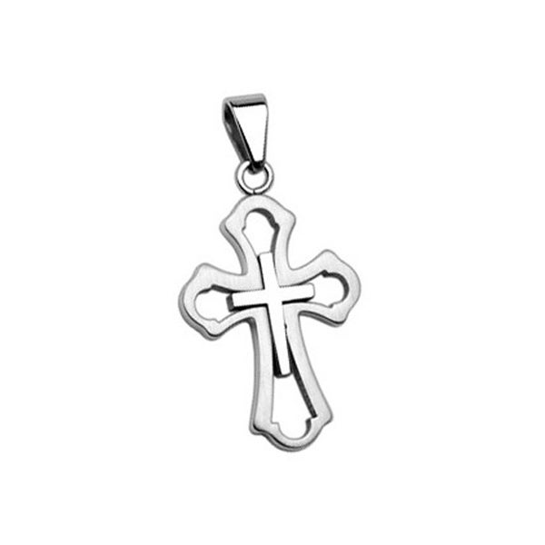 Stainless Steel Cross within a Cross Pendant (24 mm Width)