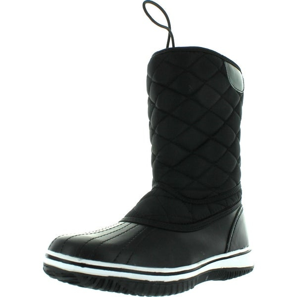 Refresh  Wind-01 Women's Quilted Lace Up Studs Waterproof Winter Snow Booties - Black