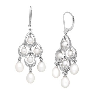 Freshwater Pearl and 1/10 ct Diamond Chandelier Earrings in Sterling Silver