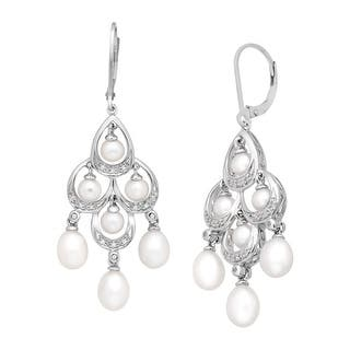Sterling silver chandelier earrings for less overstock freshwater pearl and 110 ct diamond chandelier earrings in sterling silver aloadofball Choice Image