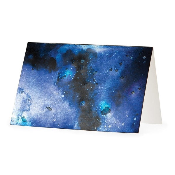 Club Pack of 48 Black, Purple and Blue Stellar Sky All Occasion Stationary Cards 6""
