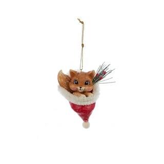 "3.75"" Red Fox Vintage Animal in Santa Hat Decorative Christmas Ornament"