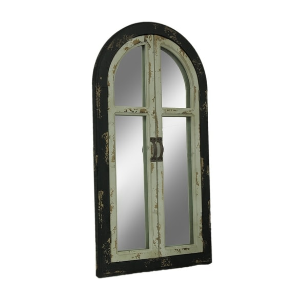 Shop Vintage Finish Wood Frame Arched Wall Mirror with Glass Doors ...