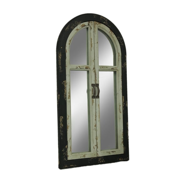 Shop Vintage Finish Wood Arched Window Frame Wall Mirror