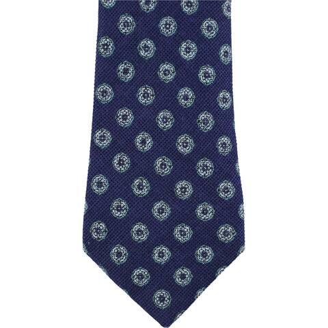 Tasso Elba Mens Medallion Linen Self-tied Necktie, blue, One Size - One Size