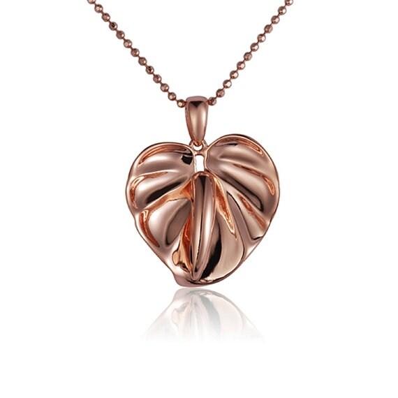 """Anthurium Necklace 14k Rose Gold Pendant 18"""" Chain"""