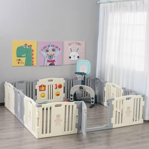 Qaba Children Baby Playpen Kids Activity Center Fence for Kids with Easy Safety Gate & Flexible Design, White