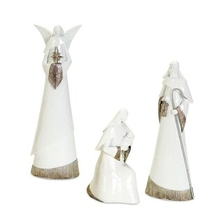 Set of 6 White and Rustic Brown Modern Nativity Tabletop Figurines 10