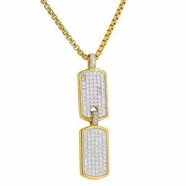 Mens Designer Double Dog Tag Pendant Iced Out Simulated Diamonds Free Stainless Steel Necklace
