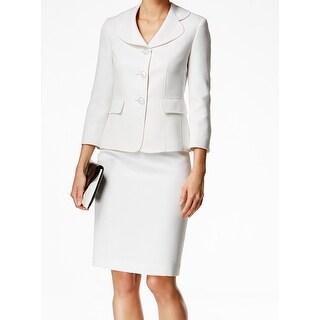 Le Suit NEW White Vanilla Textured Dot Women's Size 10 Skirt Suit Set