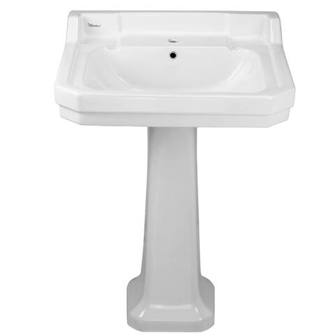 "Whitehaus B112L-P China Series 20"" Pedestal Bathroom Sink with 1 Hole - White"