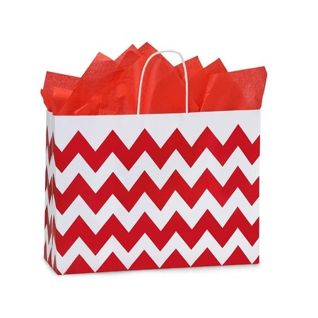 """Pack Of 25, Vogue 16 x 6 x 12.5"""" Chevron Stripe Red Recycled White Shopping Bags W/White Paper Twist Handles"""