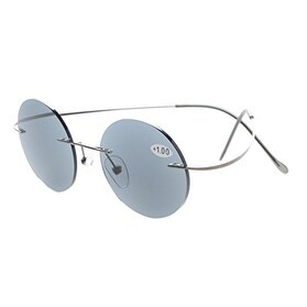 6feec4c5a03 Shop Eyekepper Titanium Rimless Round Reading Glasses Readers Grey Lens  +0.5 - Free Shipping On Orders Over  45 - Overstock.com - 16023875