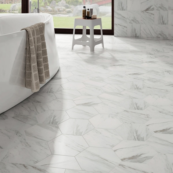 """SomerTile Eterno Carrara Hex 8.63"""" x 9.86"""" Porcelain Floor and Wall Tile. Opens flyout."""