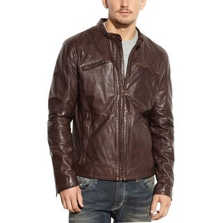 Rogue State Brown Genuine Leather Jacket Medium M Slim Fit