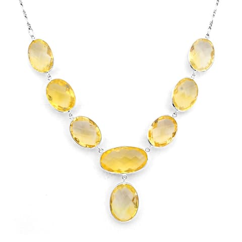 Citrine Sterling Silver Oval Chain Necklace by Orchid Jewelry