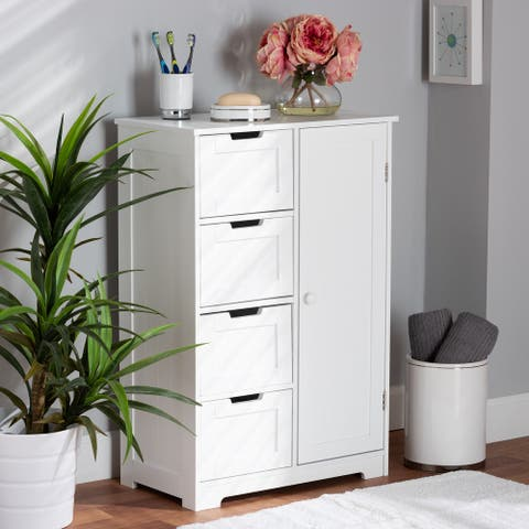 Bauer Modern White Finished Wood 4-Drawer Bathroom Storage Cabinet