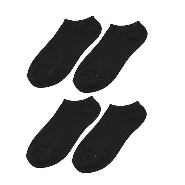 Woman Lady Elastic Cuff Low Cut Footsie Short Ankle Boat Socks Black 2 Pairs