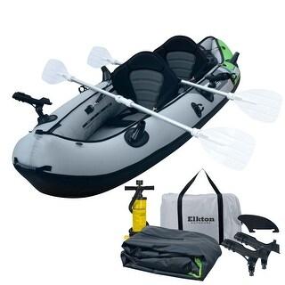 Elkton Outdoors Comorant 2 Person Kayak,10 Foot 2 Person Inflatable Fishing Kayak, Full Kit