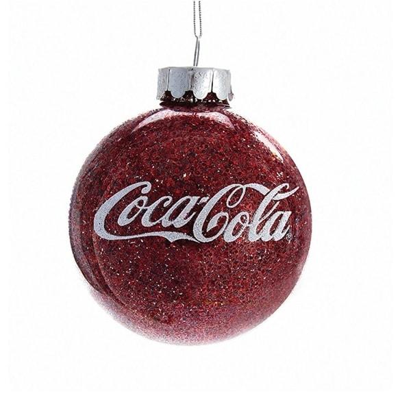 """3.25"""" Coca Cola Red Glass Glitter Decorative Christmas Ball Ornament"""