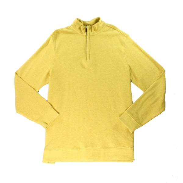 Tasso Elba NEW Yellow Heather Mens Size XL Quarter Zip Sweater Cotton
