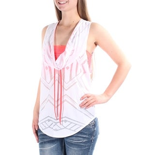 ENERGIE Womens New 1367 White Chevron Tie Neck Sleeveless Top Juniors XL B+B