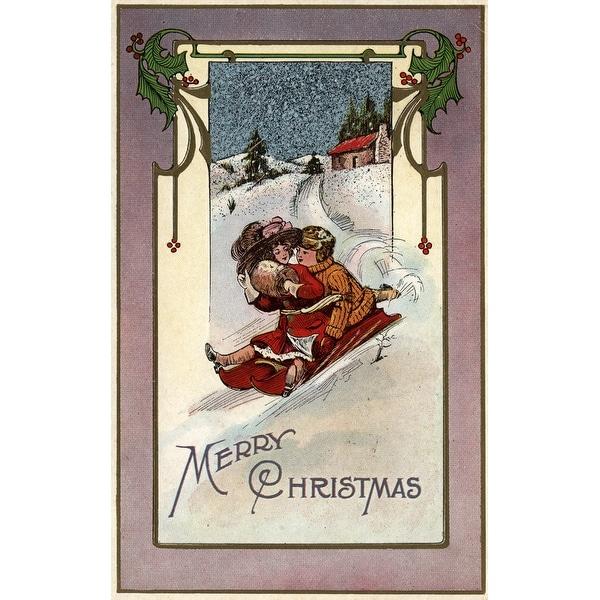 Merry Christmas Couple Sledding Vintage Holiday (Cotton/Polyester Chef's Apron)