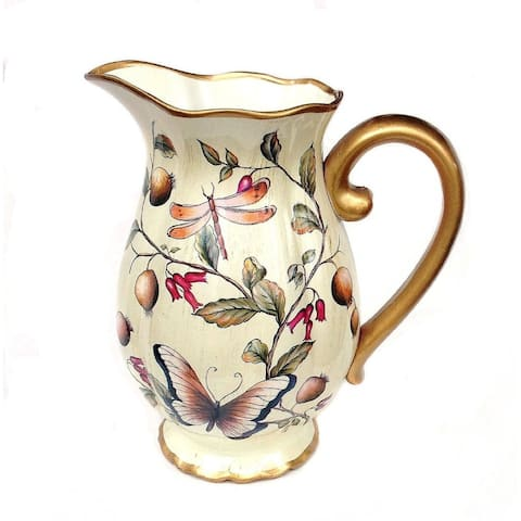 Cream Floral Ceramic Decorative Vase or Pitcher