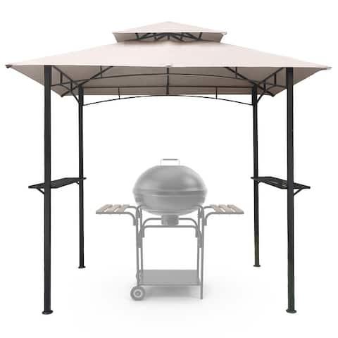 8x5 Outdoor Grill Gazebo 2-Tier Vented BBQ Canopy w/ Steel Frame